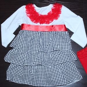 Etsy Handmade Red Ruffle Houndstooth Dress 3T/ 4T